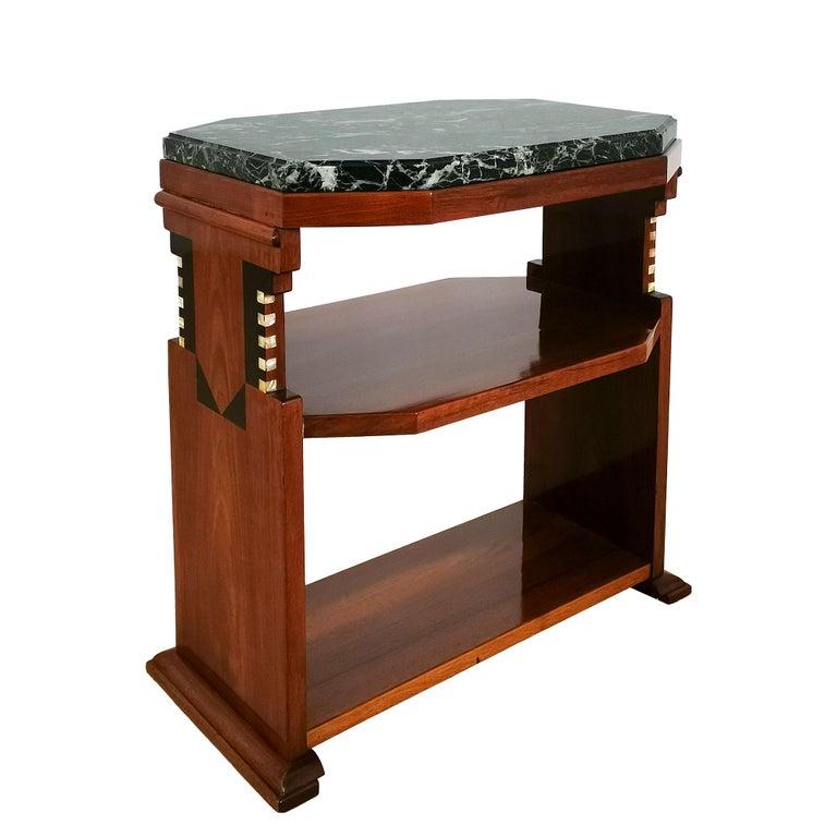 Early 20th Century 1925 Cubist Art Deco Side Table, Walnut, Marble, Ebony, Belgium For Sale
