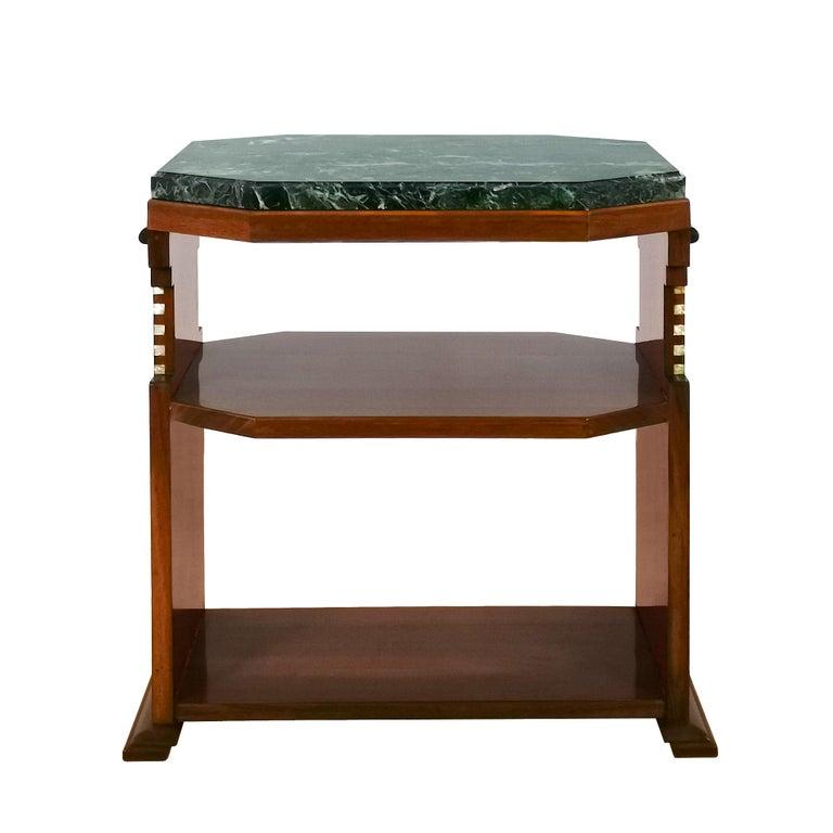 1925 Cubist Art Deco Side Table, Walnut, Marble, Ebony, Belgium For Sale 1