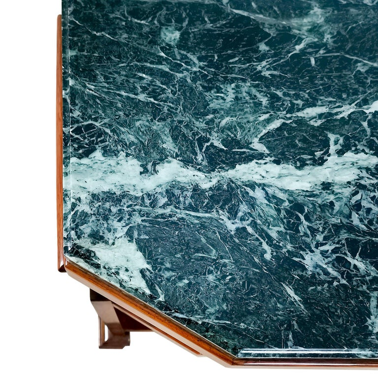 1925 Cubist Art Deco Side Table, Walnut, Marble, Ebony, Belgium For Sale 4