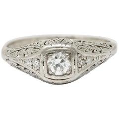 1925 Early Art Deco Old European Cut Diamond Platinum Foliate Engagement Ring