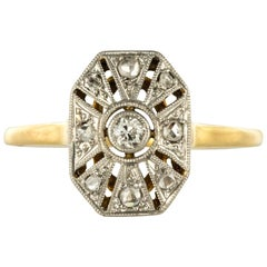 1925 French Art Deco 18 Karat White Yellow Gold Diamond Hexagon Shaped Ring