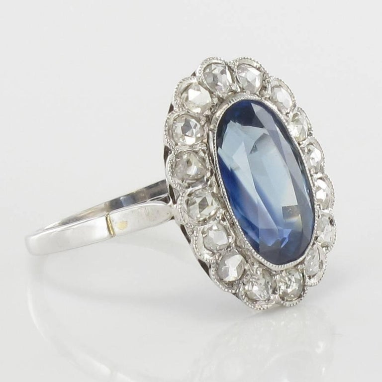 blue diamond wedding ring 1925 deco antique sapphire pompadour 1925