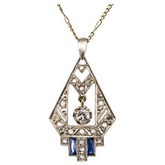 1925 French Art Deco Diamond Pendant