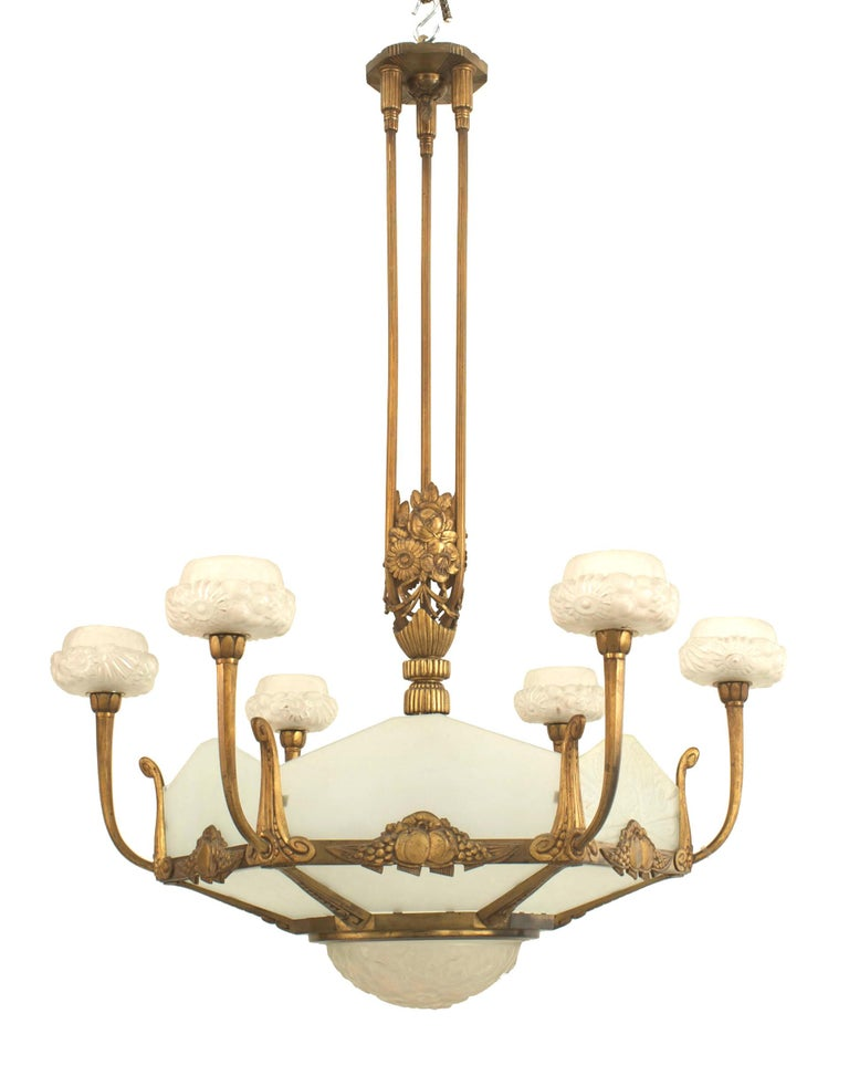 French Art Deco, circa 1925 gilded bronze six-sided frosted (new) glass chandelier with six floral design pressed glass shades and centre bowl bottom (by Genet & Michon).   Genet et Michon is the company created in 1911 by Philippe Genet and Lucien