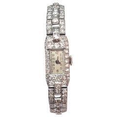 1925 French Art Deco Platinum 2.5 Carat Diamonds Lady Wristwatch