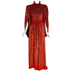 1925 Gallenga Couture Metallic Stenciled Red Velvet Angel-Sleeve Trained Gown