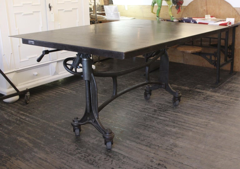 Industrial 1925 Hamilton Printer's Flat Top Table with Cast Iron Base and Steel Top For Sale