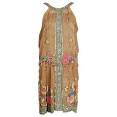 1925 Henri Bendel Couture Beaded Floral Silk and Lamé Flapper Art-Deco Dress