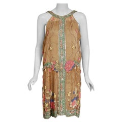 Vintage 1925 Henri Bendel Couture Beaded Floral Silk and Lamé Flapper Deco Dress