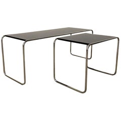 1925, Marcel Breuer for Thonet, B 9 and B 10 in Black with Chrome Frame