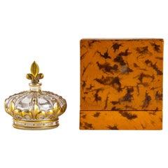 1925 Marcel Guerlain, Perfume Bottle Crown in Clear Glass with Gold Enamel