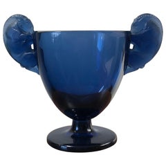 1925 René Lalique Béliers Vase in Dark Blue Glass, Rams