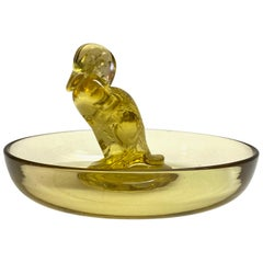 1925 Rene Lalique Canard Astray Pintray Yellow Glass, Duck
