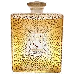 1925 Rene Lalique La Belle Saison Houbigant Perfume Bottle Sepia Stained Glass