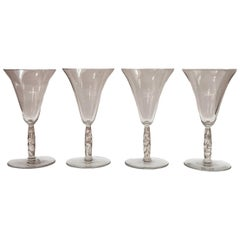 1925 René Lalique Set of 4 Pieces Glasses Logelbach Sepia Patina
