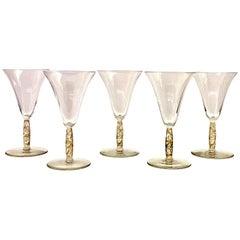 1925 René Lalique Set of 5 Pieces Glasses Logelbach Sepia Patina