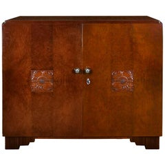 1925 Small Art Deco Sideboard, Two Doors, Mottled Mahogany, Brass, France