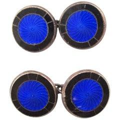 1925 Sterling Silver Art Deco Royal Blue Enamel Cufflinks