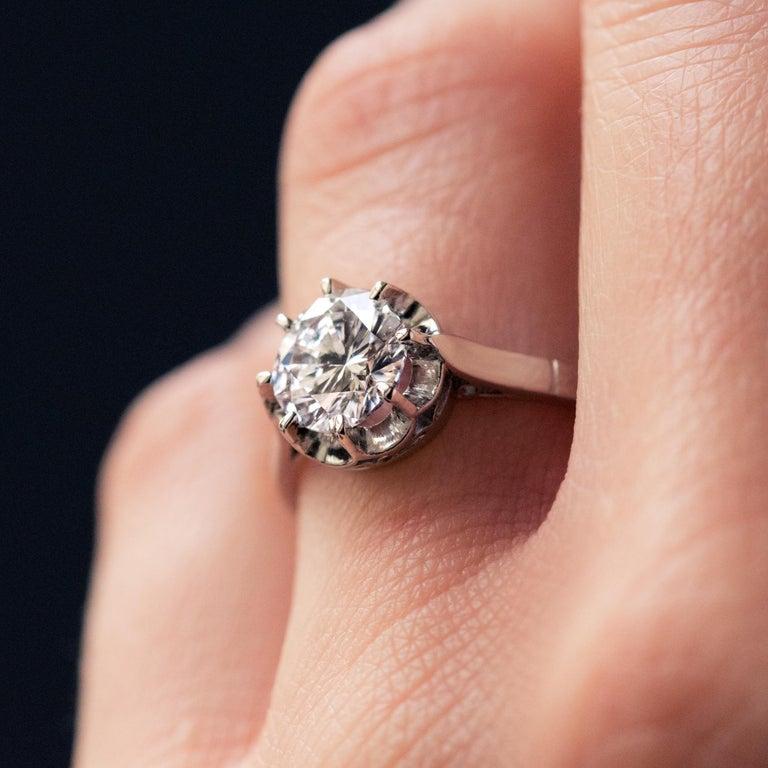 1925s Art Deco 1.50 Carat E.VS Diamond 18 Karat Platinum Solitary Ring For Sale 6