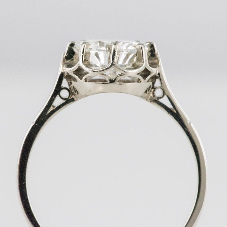 1925s Art Deco 1.50 Carat E.VS Diamond 18 Karat Platinum Solitary Ring For Sale 7