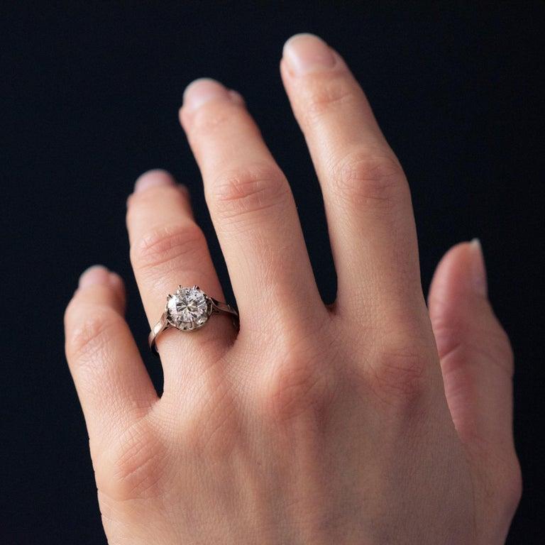 1925s Art Deco 1.50 Carat E.VS Diamond 18 Karat Platinum Solitary Ring For Sale 8