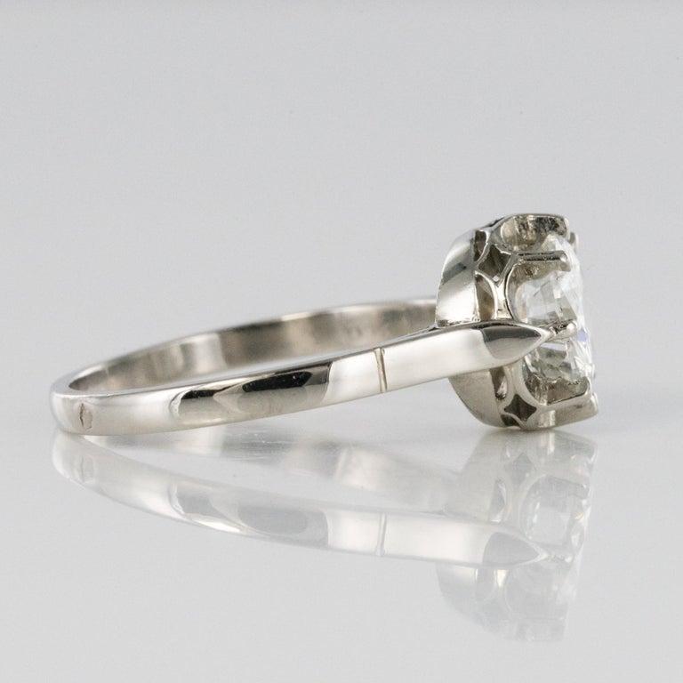1925s Art Deco 1.50 Carat E.VS Diamond 18 Karat Platinum Solitary Ring For Sale 9