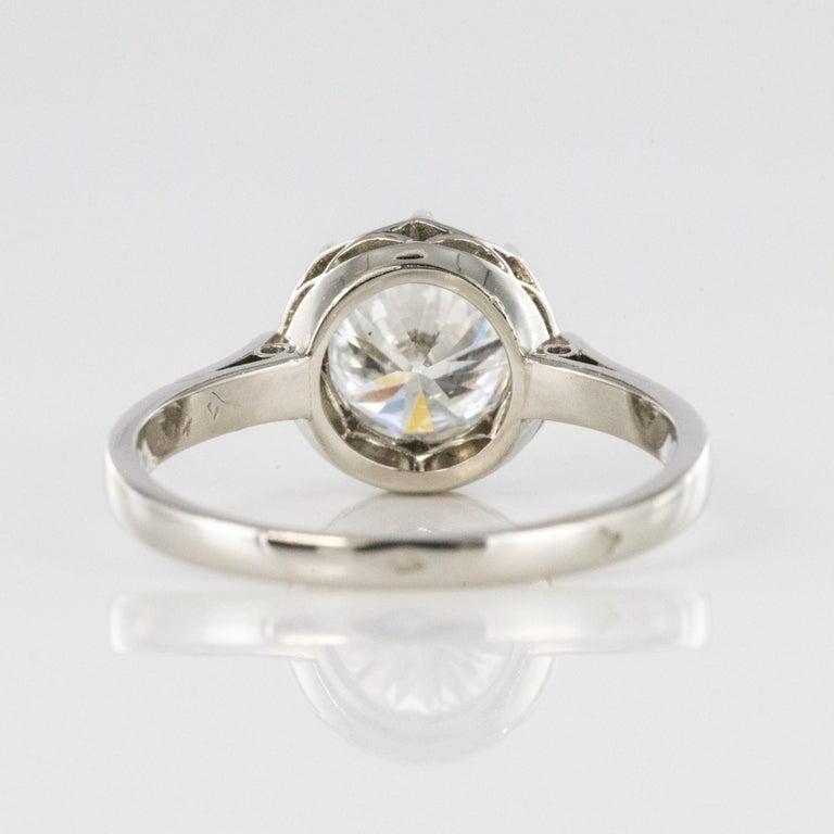 1925s Art Deco 1.50 Carat E.VS Diamond 18 Karat Platinum Solitary Ring For Sale 10