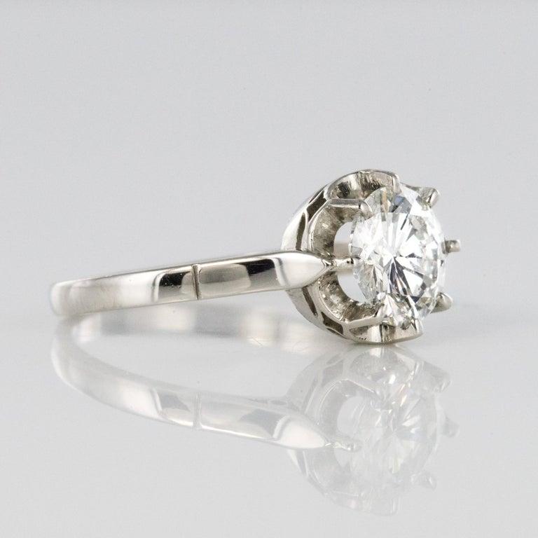 1925s Art Deco 1.50 Carat E.VS Diamond 18 Karat Platinum Solitary Ring For Sale 11