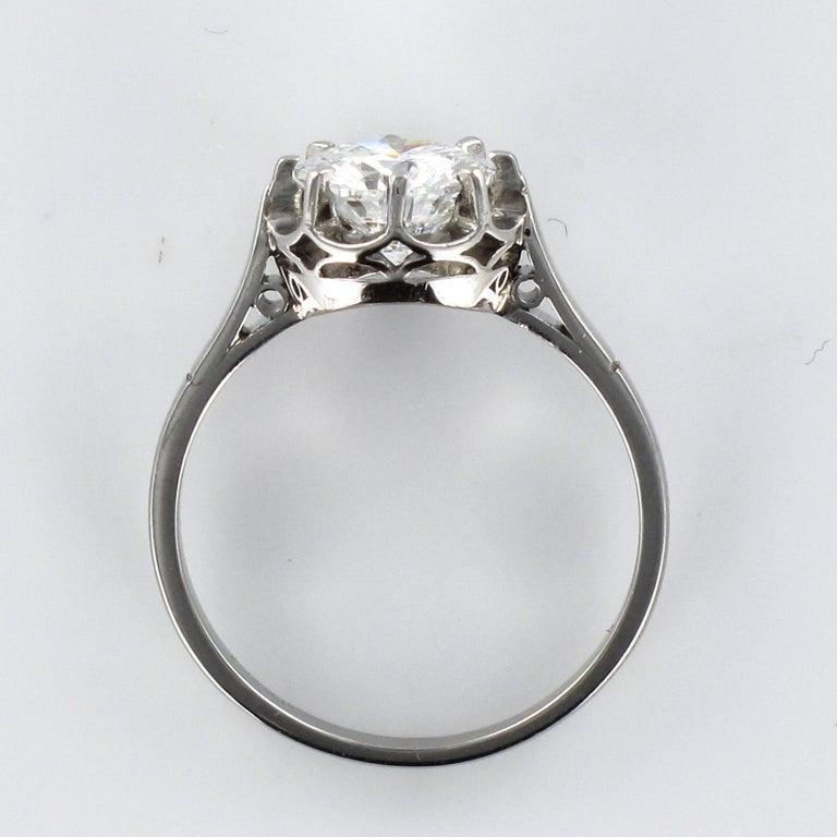1925s Art Deco 1.50 Carat E.VS Diamond 18 Karat Platinum Solitary Ring For Sale 12