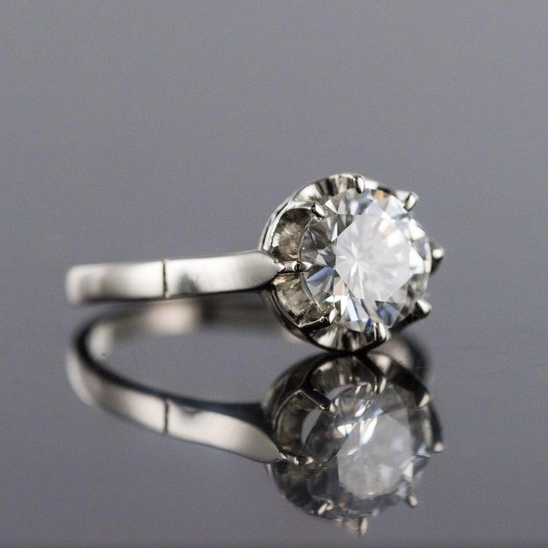 1925s Art Deco 1.50 Carat E.VS Diamond 18 Karat Platinum Solitary Ring For Sale 1