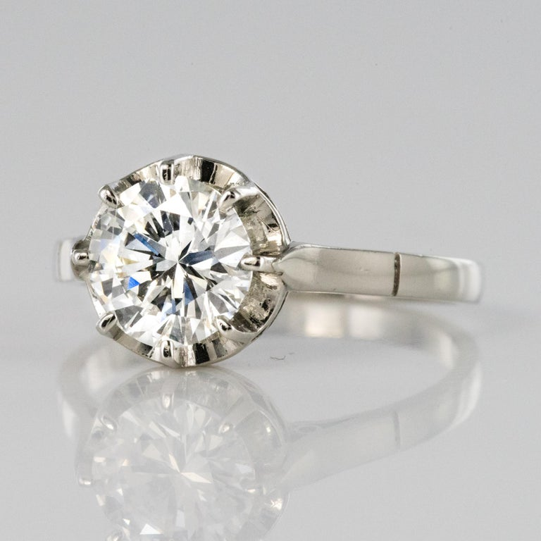 1925s Art Deco 1.50 Carat E.VS Diamond 18 Karat Platinum Solitary Ring For Sale 2