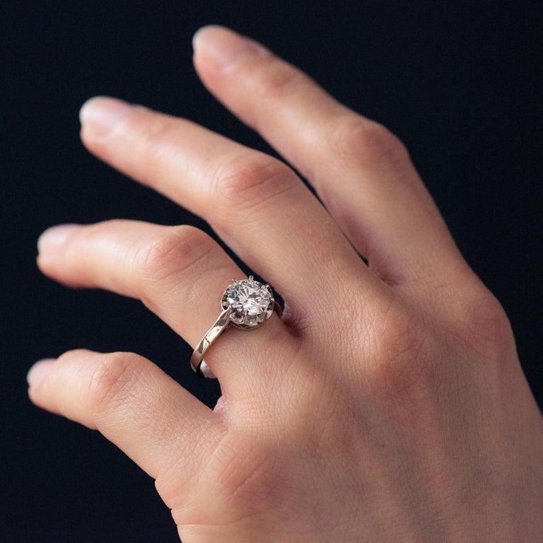 1925s Art Deco 1.50 Carat E.VS Diamond 18 Karat Platinum Solitary Ring For Sale 4