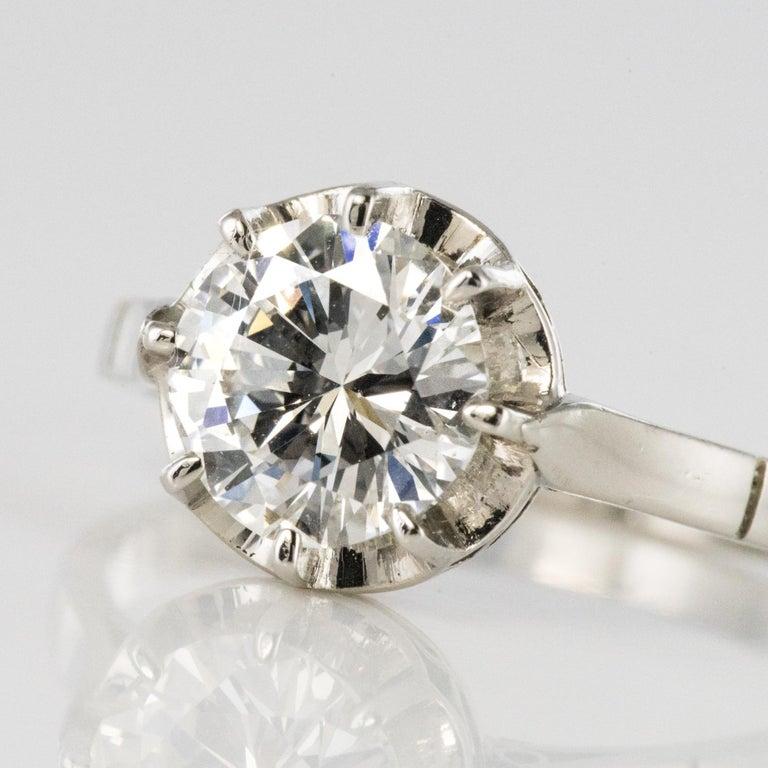 1925s Art Deco 1.50 Carat E.VS Diamond 18 Karat Platinum Solitary Ring For Sale 5