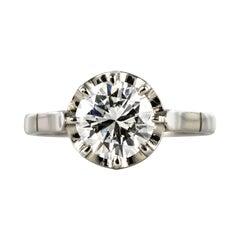 1925s Art Deco 1.50 Carat E.VS Diamond 18 Karat Platinum Solitary Ring