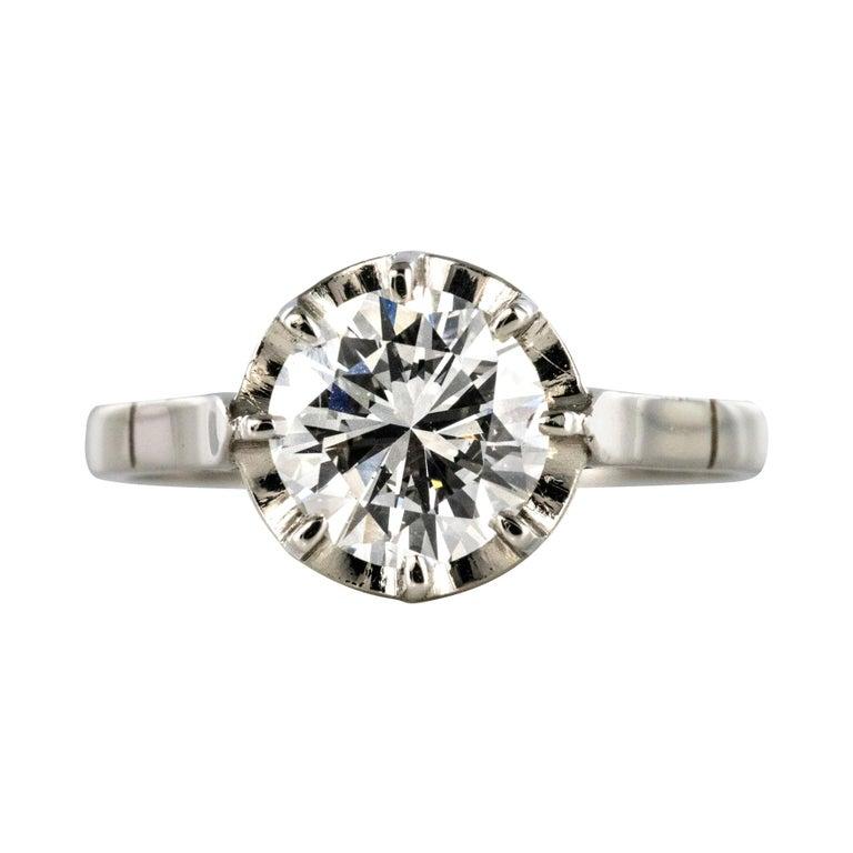 1925s Art Deco 1.50 Carat E.VS Diamond 18 Karat Platinum Solitary Ring For Sale