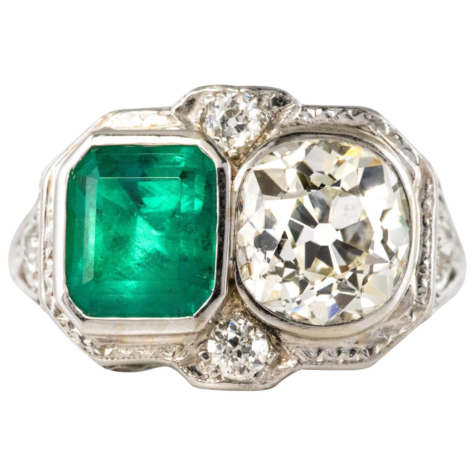 1925s Art Deco 2 Carat Emeralds 2.20 Carat Diamonds Platinum Ring