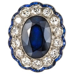 1925s Art Deco 8.40 Carat Sapphire Diamonds Calibrated Sapphires Platinum Ring
