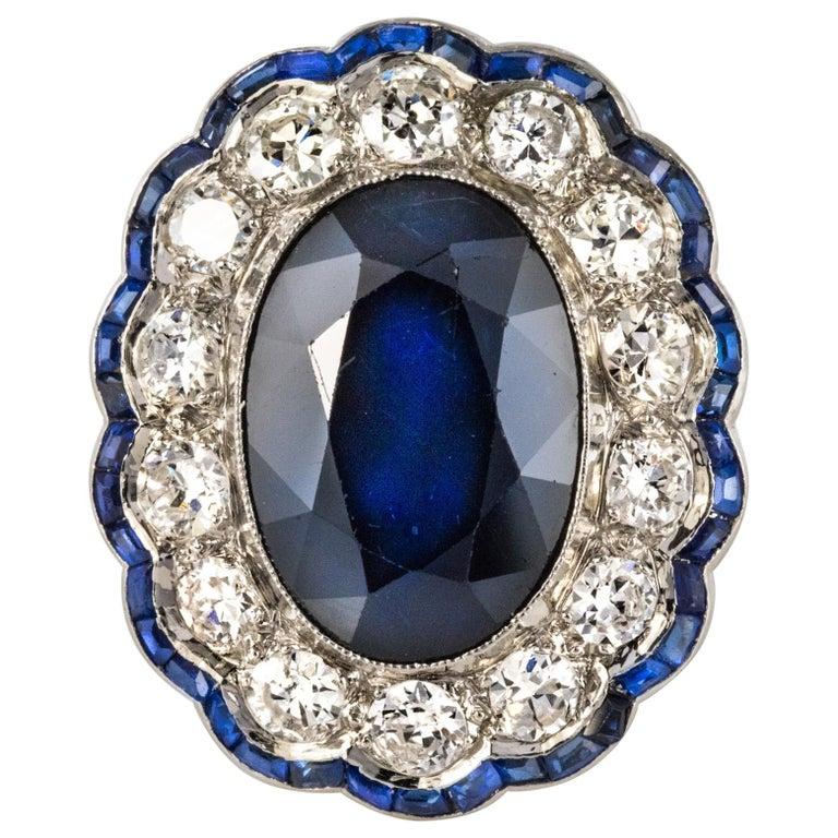 1925s Art Deco 8.40 Carat Sapphire Diamonds Calibrated Sapphires Platinum Ring For Sale