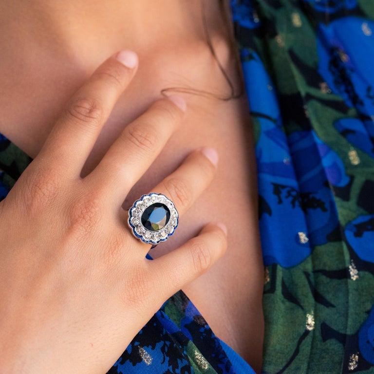 1925s Art Deco 8.40 Carat Sapphire Diamonds Calibrated Sapphires Platinum Ring For Sale 5
