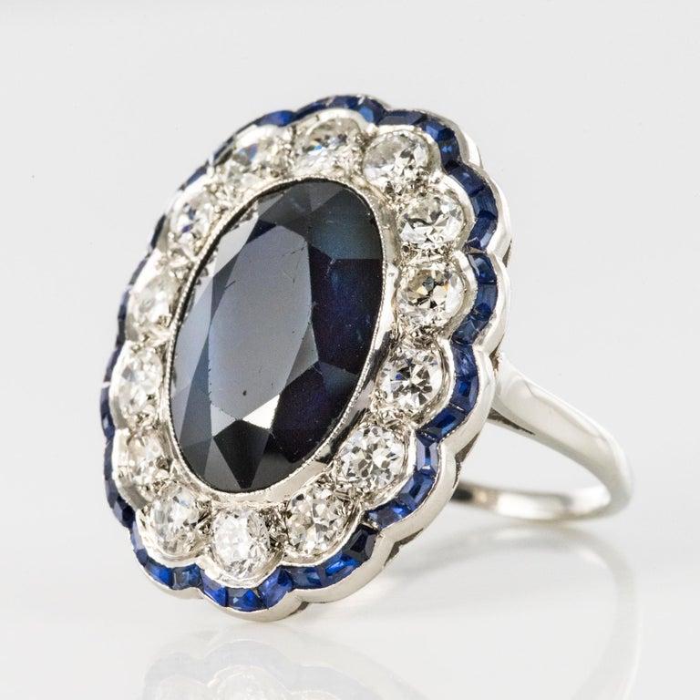 1925s Art Deco 8.40 Carat Sapphire Diamonds Calibrated Sapphires Platinum Ring For Sale 6
