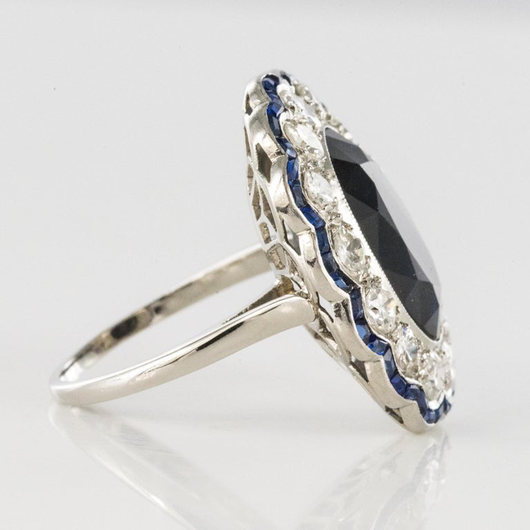 1925s Art Deco 8.40 Carat Sapphire Diamonds Calibrated Sapphires Platinum Ring For Sale 8