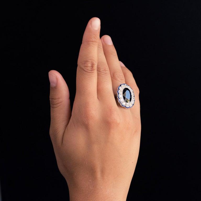 1925s Art Deco 8.40 Carat Sapphire Diamonds Calibrated Sapphires Platinum Ring For Sale 9