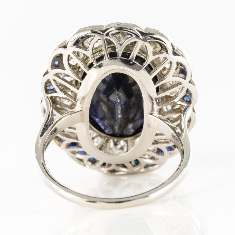 1925s Art Deco 8.40 Carat Sapphire Diamonds Calibrated Sapphires Platinum Ring For Sale 10