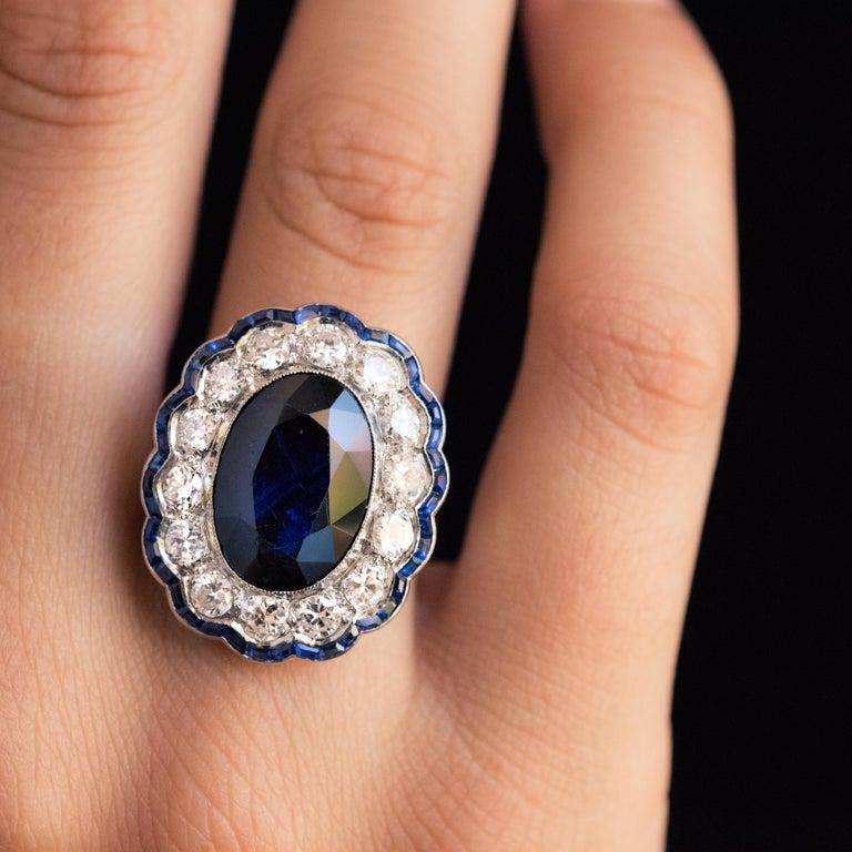 1925s Art Deco 8.40 Carat Sapphire Diamonds Calibrated Sapphires Platinum Ring For Sale 11