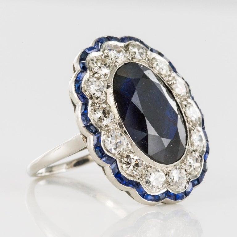 1925s Art Deco 8.40 Carat Sapphire Diamonds Calibrated Sapphires Platinum Ring For Sale 12