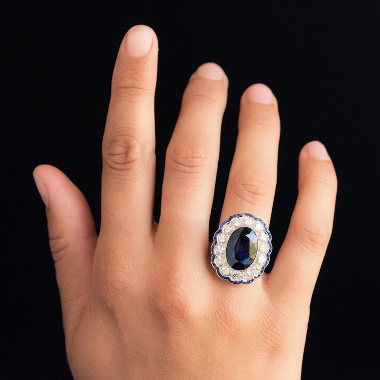 1925s Art Deco 8.40 Carat Sapphire Diamonds Calibrated Sapphires Platinum Ring For Sale 13