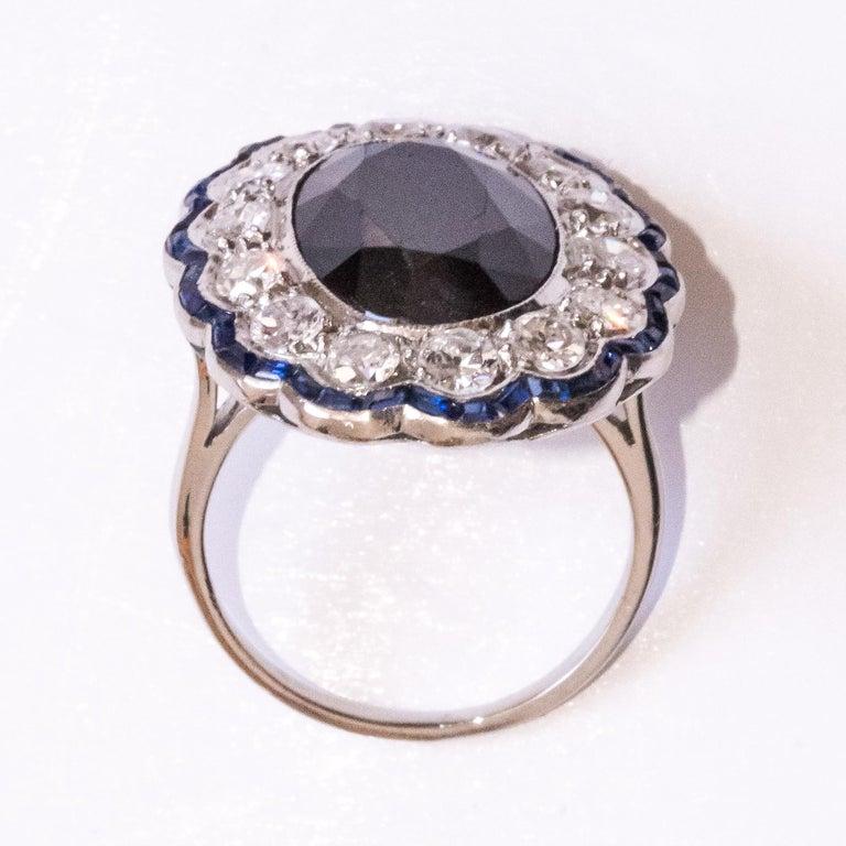 1925s Art Deco 8.40 Carat Sapphire Diamonds Calibrated Sapphires Platinum Ring For Sale 14