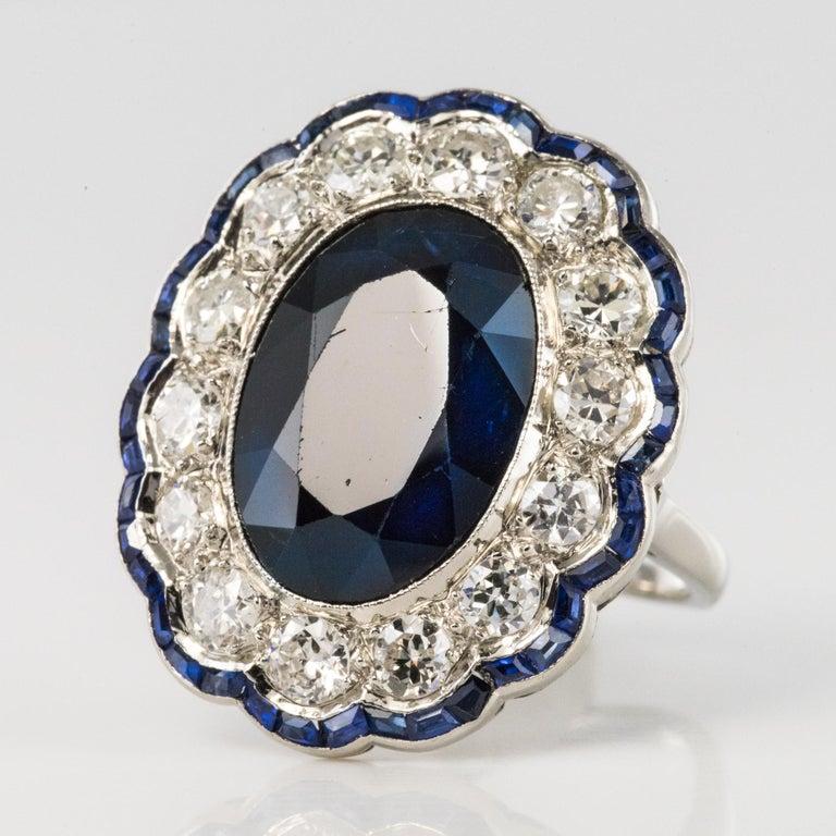 Brilliant Cut 1925s Art Deco 8.40 Carat Sapphire Diamonds Calibrated Sapphires Platinum Ring For Sale