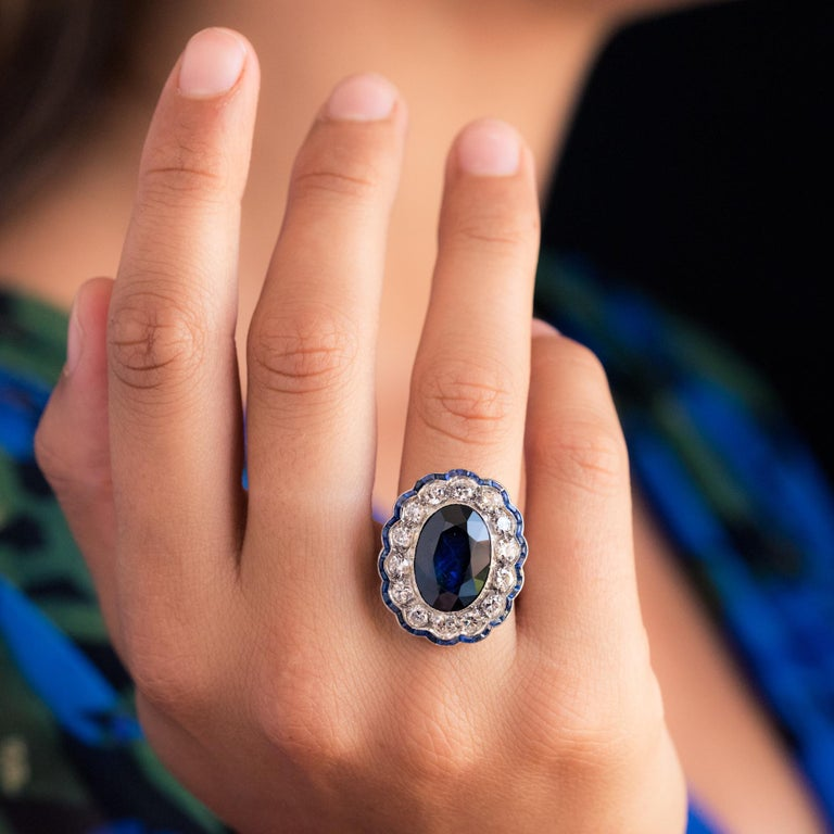 1925s Art Deco 8.40 Carat Sapphire Diamonds Calibrated Sapphires Platinum Ring For Sale 1