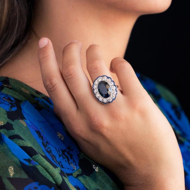 1925s Art Deco 8.40 Carat Sapphire Diamonds Calibrated Sapphires Platinum Ring For Sale 3